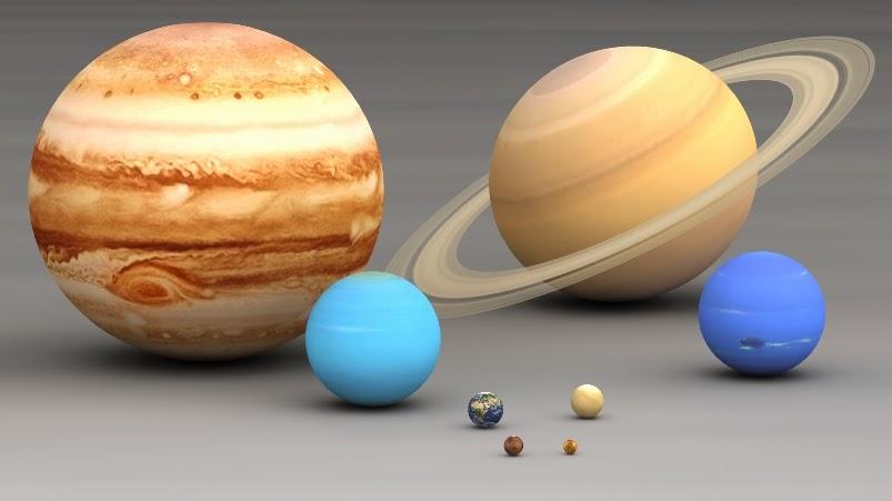 Planetas do sistema solar em escala