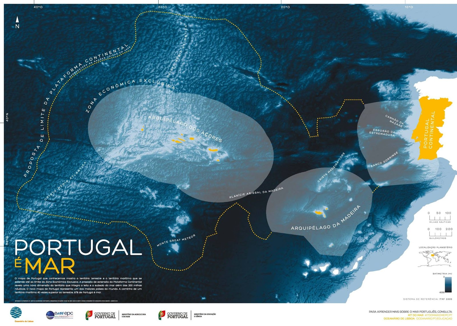 """Portugal Is Sea"" - Official Portuguese map with a proposed extension to Portugal's EEZ"