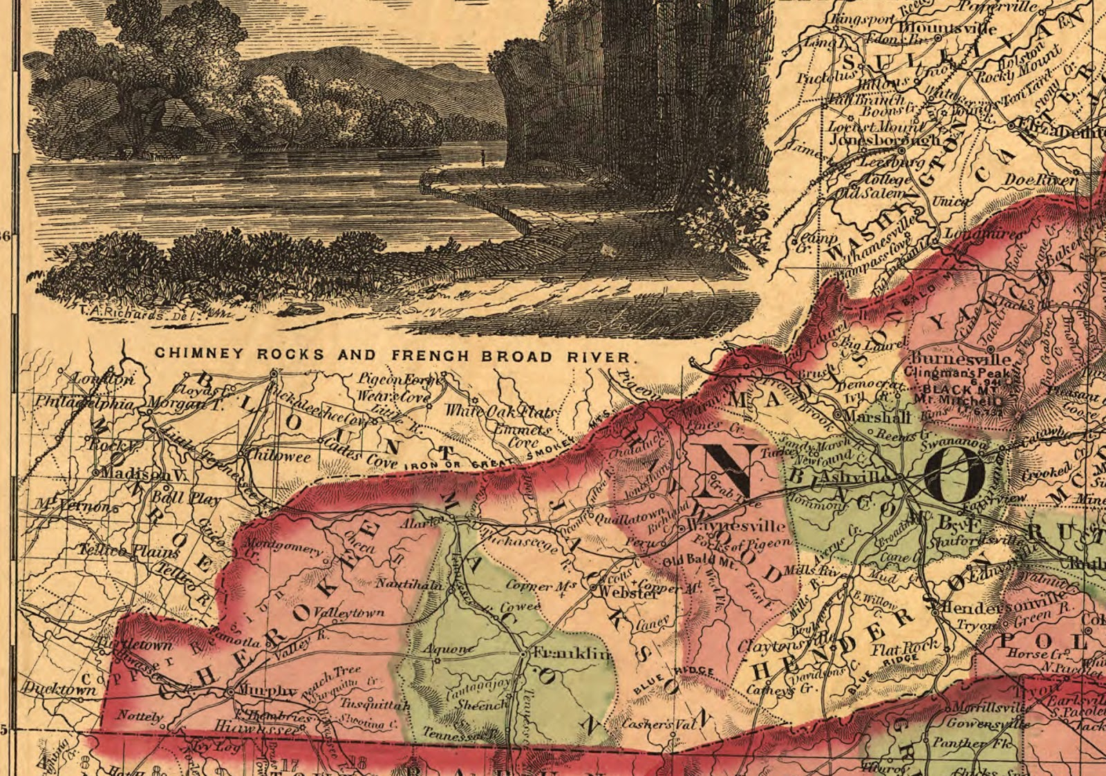 an 1864 map provides a little more detail on the mountain range the great smoky mountains begin at the little tennessee river and extend to the french