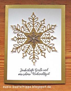 stampin up flockengestöber wintermärchen schneegestöber thinlits für weihnachtskarten embellishment schneeflocke samtpapier flüsterweiss