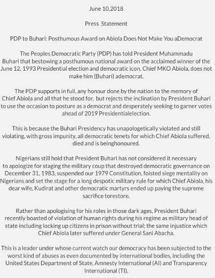 June 12: Bestowing a posthumous national award on Chief MKO Abiola, does not make President Buhari a Democrat --PDP