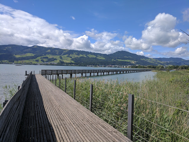 Day Trip from Zurich in Rapperswil - wooden boardwalk over Lake Zurich