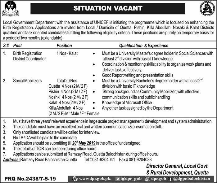 Jobs In Local Govt And Rural Development Department Quetta