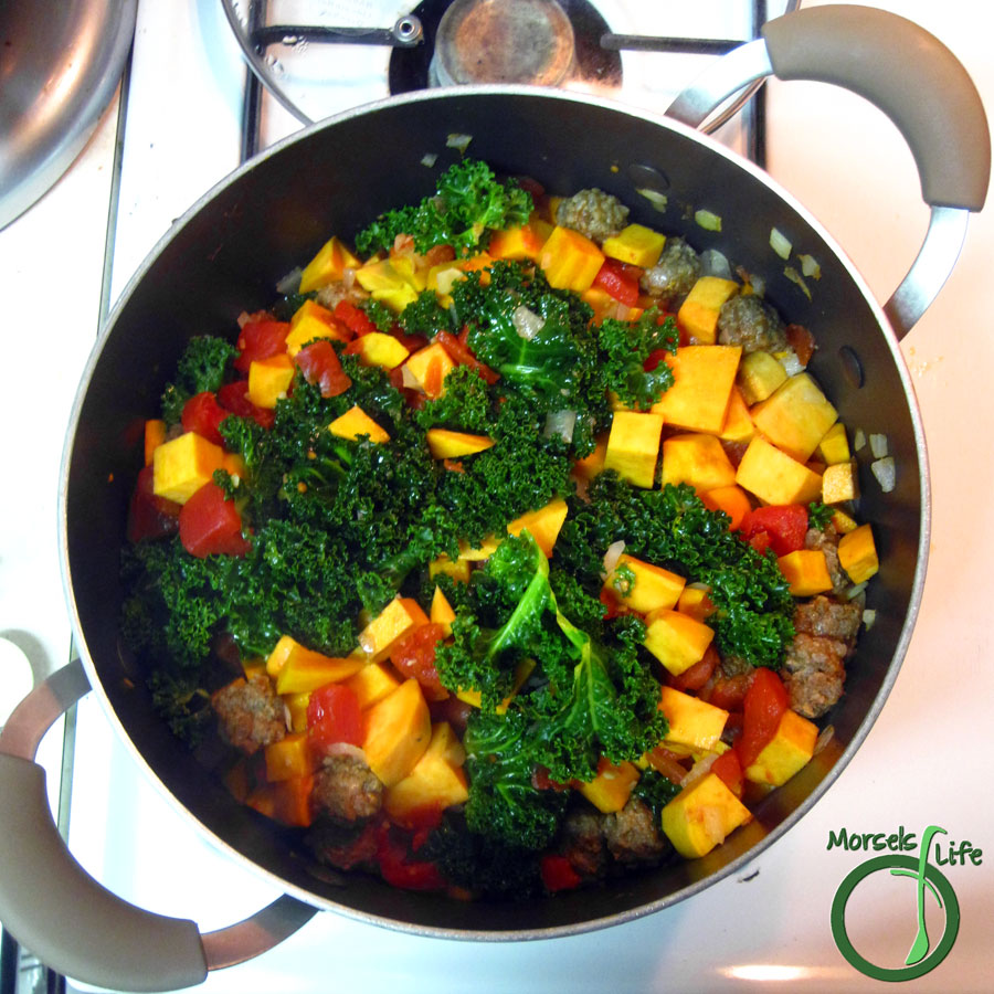 Morsels of Life - Sweet Potato Sausage and Kale Casserole - Savory sausage cooked up with sweet potatoes and tomatoes, then combined with kale.