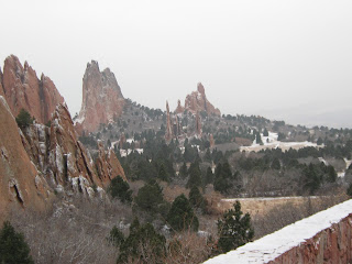 Beautiful scenic overlook on a snowy day. Find out about homes for sale near Garden Of The Gods
