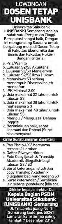 Lowongan dosen tetap Unisbank Semarang