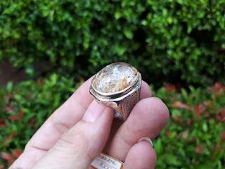 Batu Permata Kecubung Karang KCB006 Indah Ikatan Perak Kokoh
