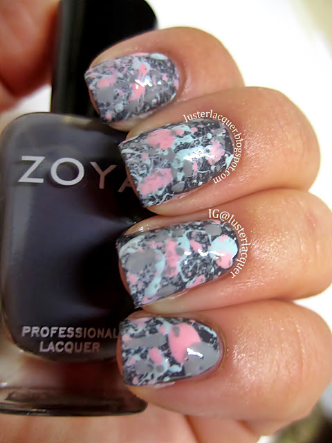 Luster Lacquer Abstract Nail Art: Luster Lacquer: Splatter Nails
