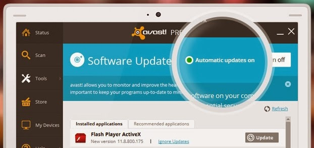 Software updater de avast