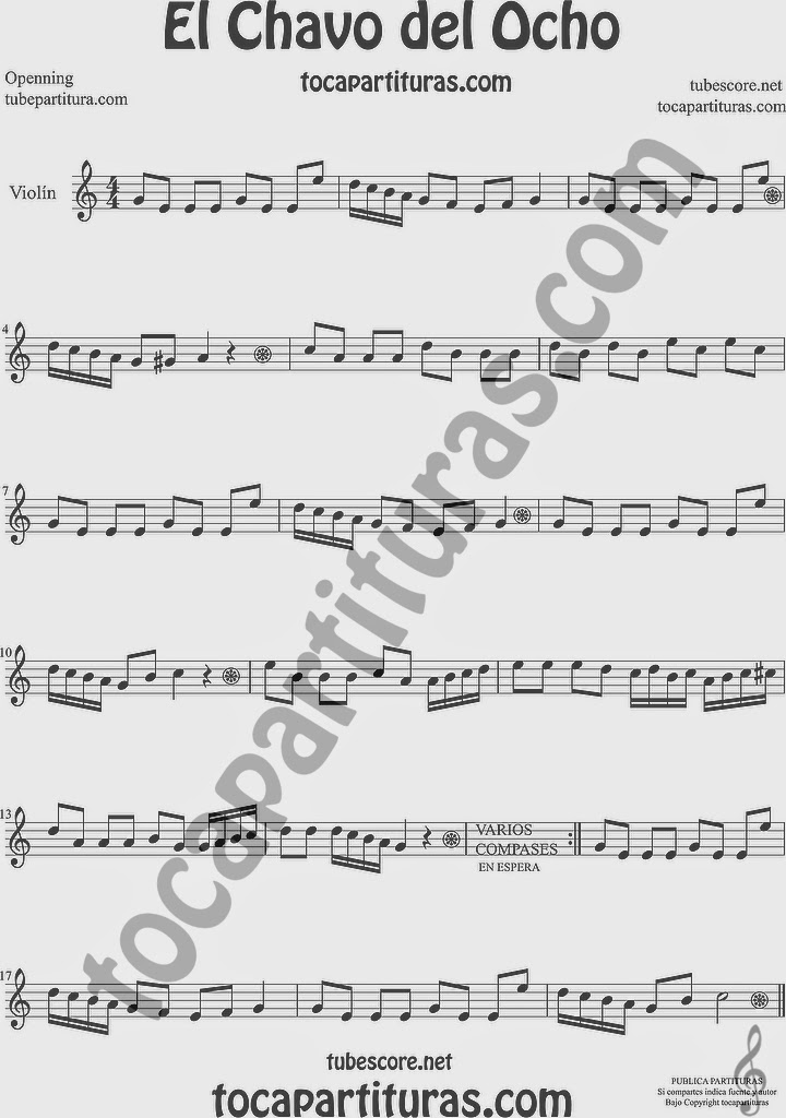 El Chavo del Ocho  Partitura de Violín Sheet Music for Violin Music Scores Music Scores