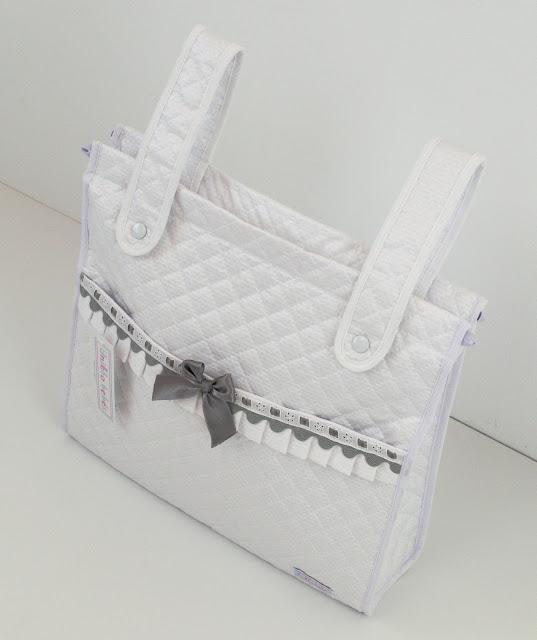 Bolsa panera blanca y gris