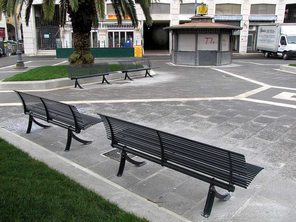 Livorno, new benches, Town Hall square