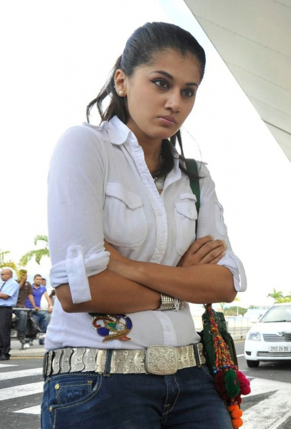 Taapsee Long hair Stills In White Shirt Blue Jeans