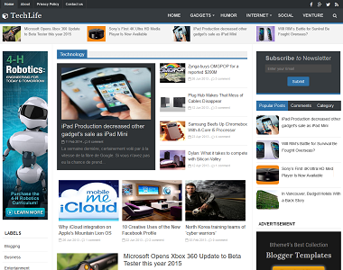 TechLife is a 3 column magazine theme designed for blogspot template with recent post slider.