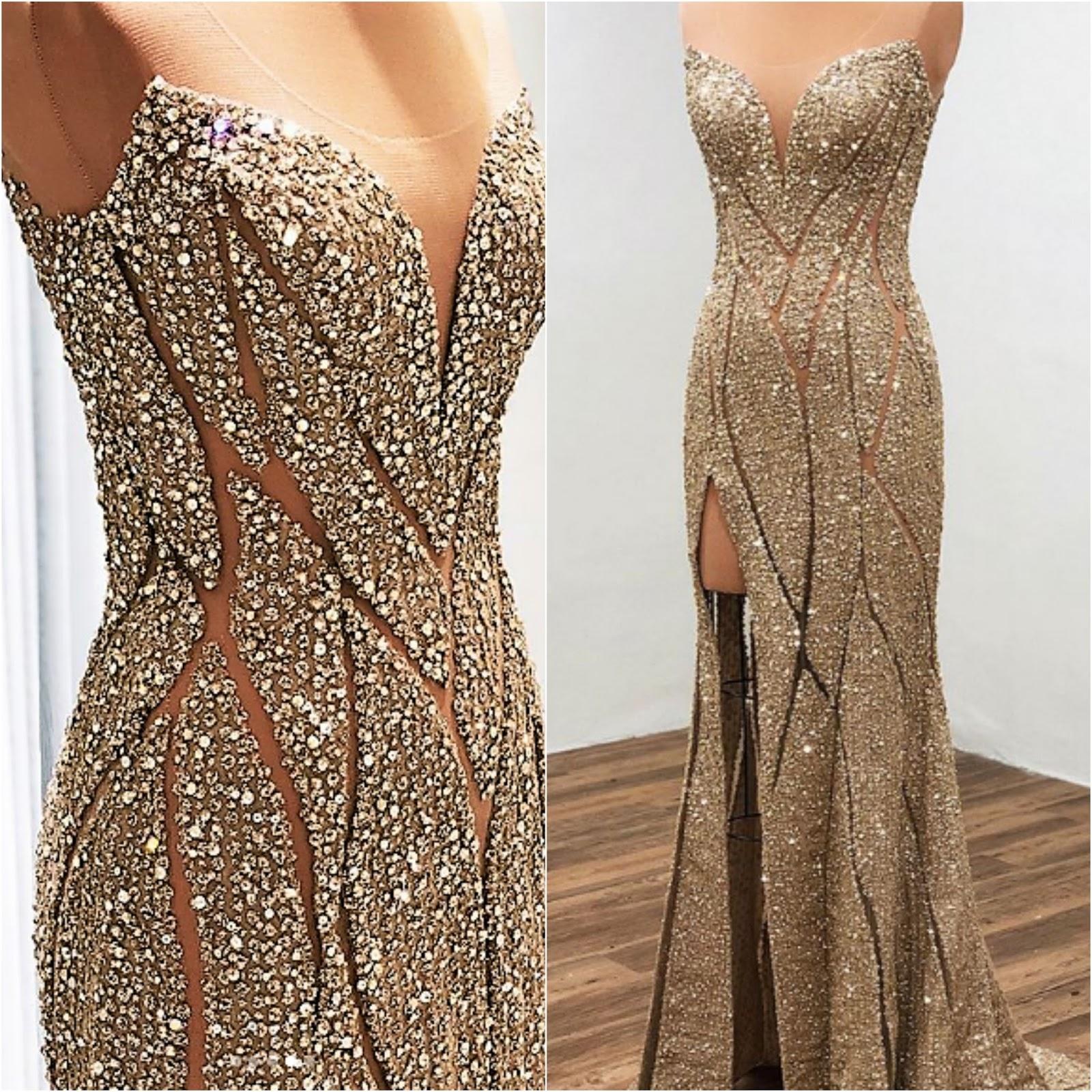 Gray Gold Dress