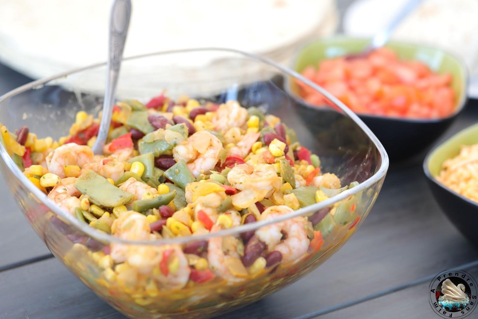 Fajitas mexicaines aux crevettes