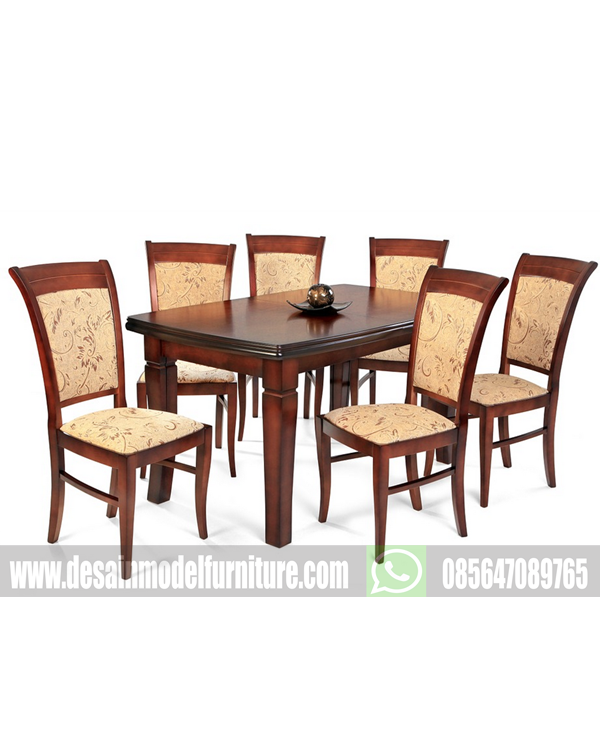 Set meja makan klasik 6 kursi