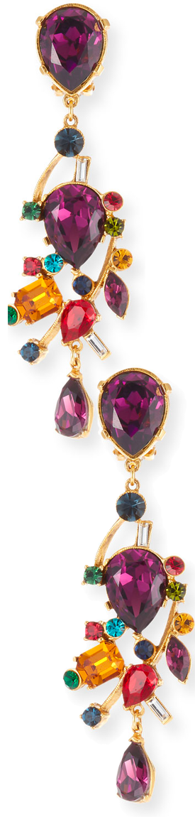 Jose & Maria Barrera Large Multicolor Stone Clip-On Drop Earrings