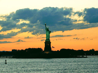 Statue of Liberty with beautiful sunset