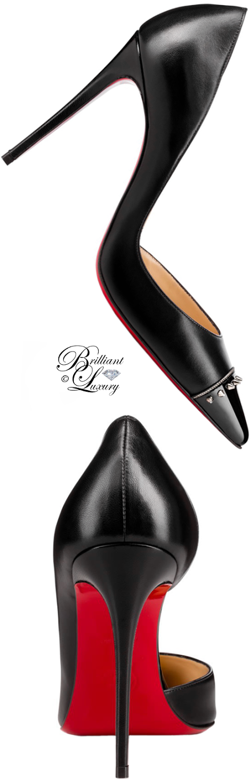 Brilliant Luxury ♦ Christian Louboutin Culturella Spiked Half D'Orsay Red Sole Pump