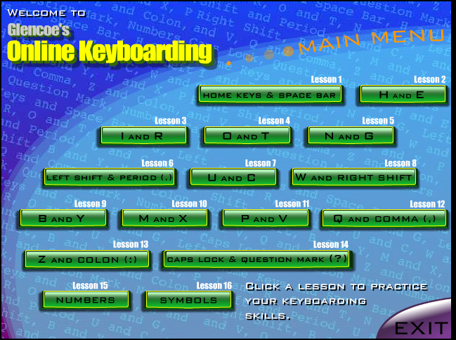 Typing Key Home Practice Games