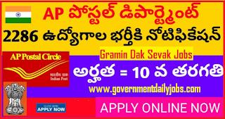 AP Postal GDS Recruitment 2018 | Apply Online for 2286 AP Postal Jobs