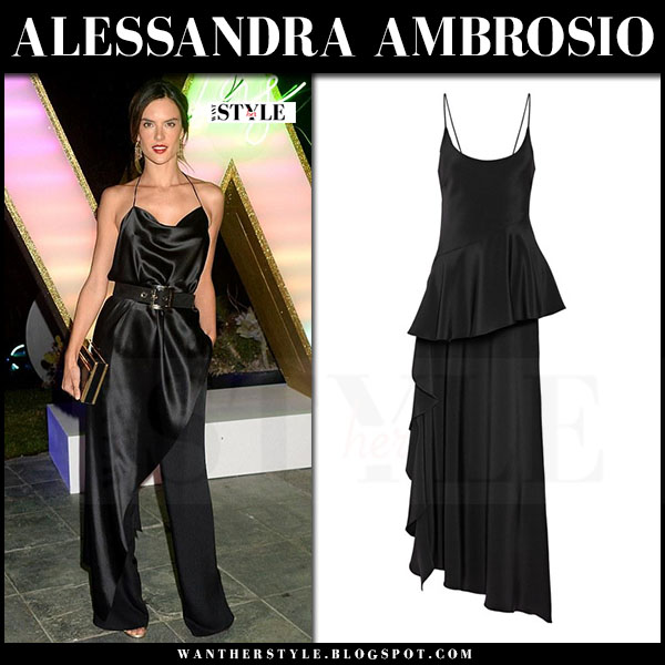 Alessandra Ambrosio in black silk belted top juan carlos obando rafaelle and black trousers what she wore