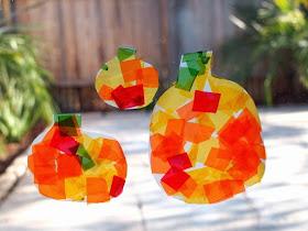 DIY Milk Jug Pumpkin Sun Catchers Craft