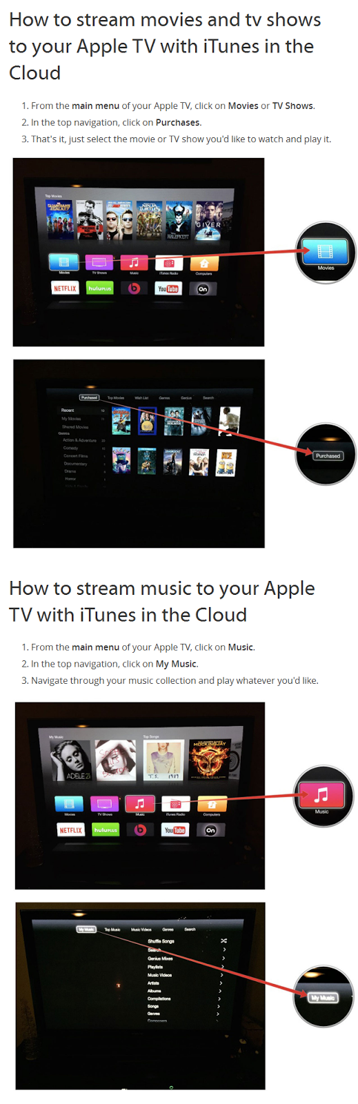 stream video from icloud to apple tv 4