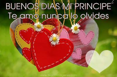imagen bonita de corazones diciendo buenos días mi principe te amo