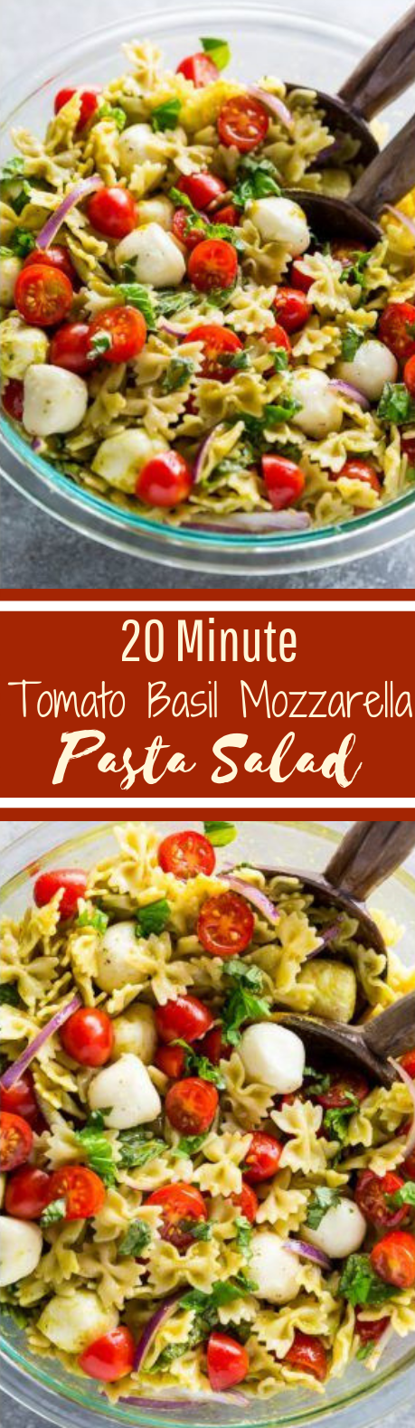 20-Minute Tomato, Basil, and Mozzarella Pasta Salad #healthy #salad