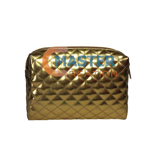 Gold makeup bag