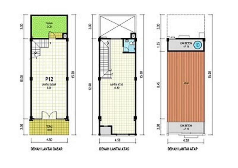 denah rumah ruko 2 lantai 7x10 m minimalis