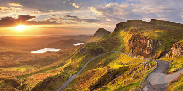 A panoramic picture of a Sunrise over the Quiraing on the Isle of Skye in Scotland