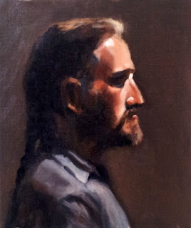 Oil painting of a middle-aged bearded man in profile with a braided ponytail and wearing a blue shirt.