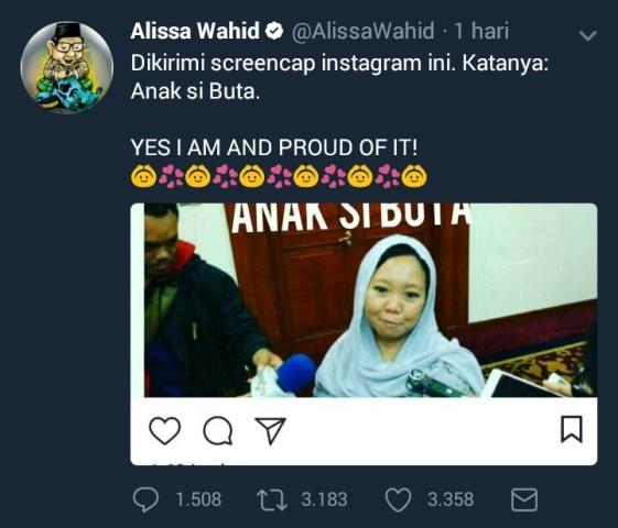 Alissa Wahid Dihina Sebagai Anak Si Buta