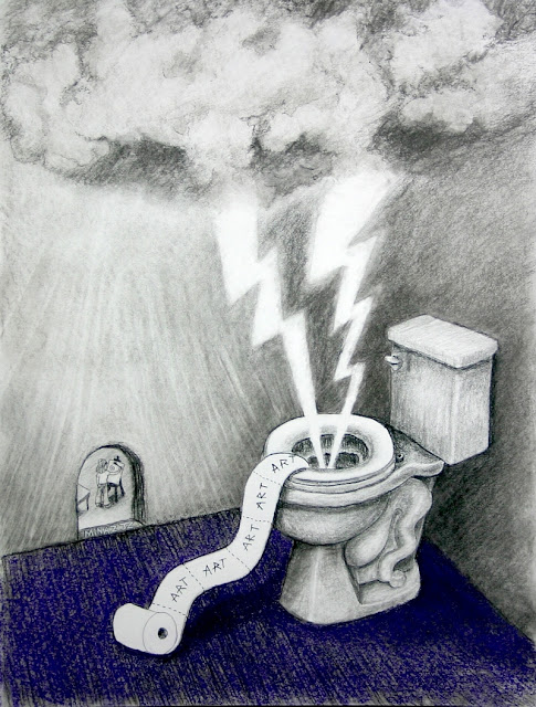 2017 Toilet Inspirations Art Art Art charcoal & pastel by Minaz Jantz