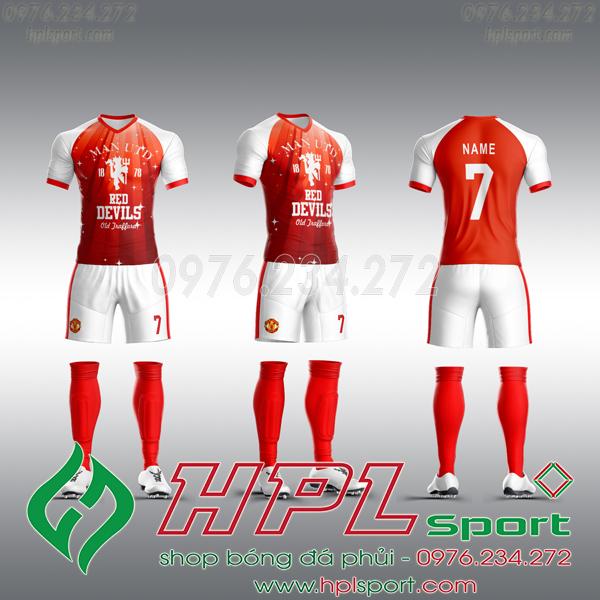 Mẫu áo câu lạc bộ tự thiết kế MU đỏ trắng