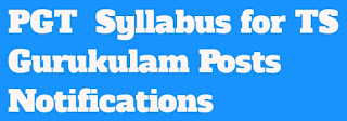 PGT Syllabus For TS Gurukulam Paper 1@2 Posts Notifications