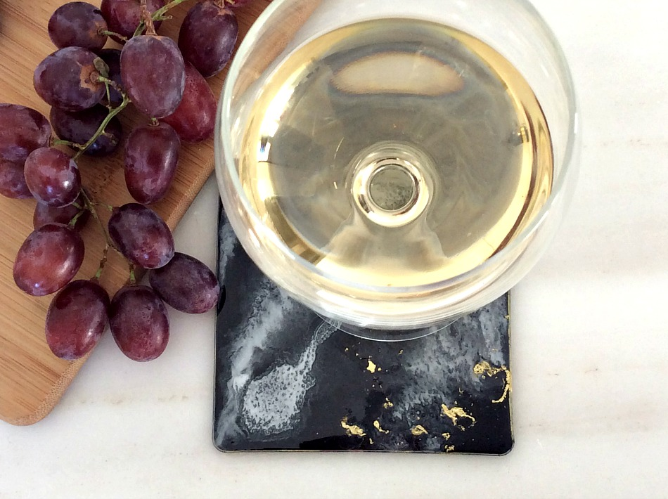Black, white, gold resin coasters, grapes, melissanthi white dry wine
