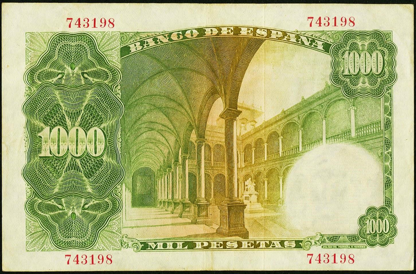 Spain money currency 1000 Pesetas banknote 1946 Royal Seminary of Corpus Christi Valencia