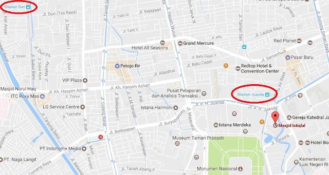 Peta Stasiun Kereta Duri ke Masjid Istiqlal