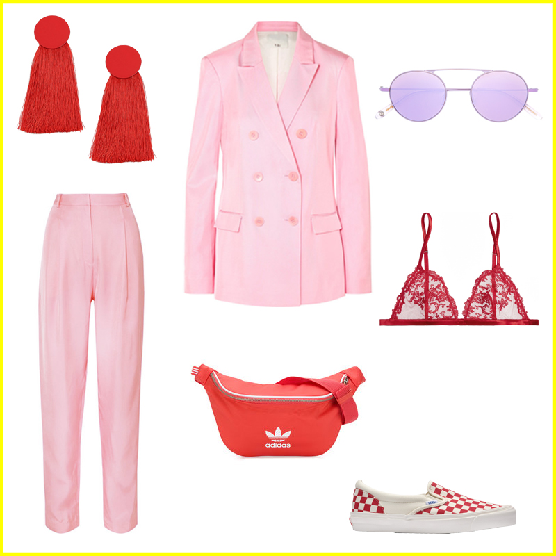 spring trends, outfit idea, pink trousers, pink jacket, pink blazer, pink suit, lilac sunglasses, vans checkerboard red, bum bag, adidas originals, tassel earrings, pastels, punchy colours