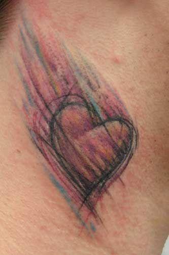 O efeito de lápis de cor no coração