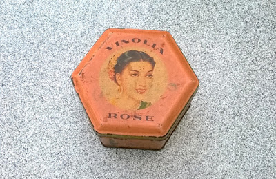 Face powder box(metal). 55 years old.