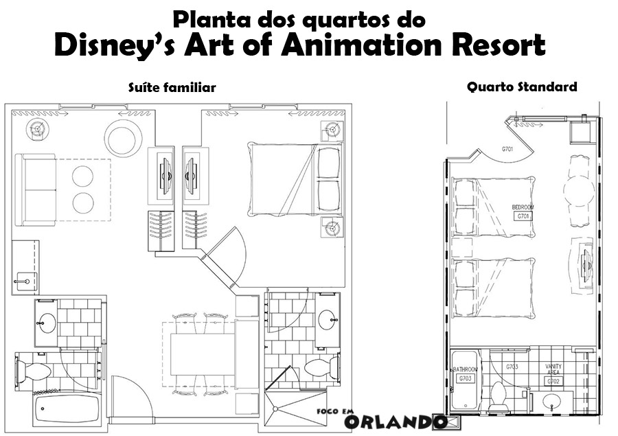 Planta dos quartos do Art of Animation.