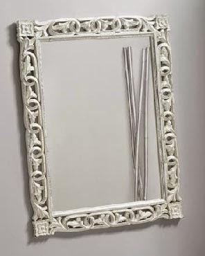 Espejo Blanco decape tallado