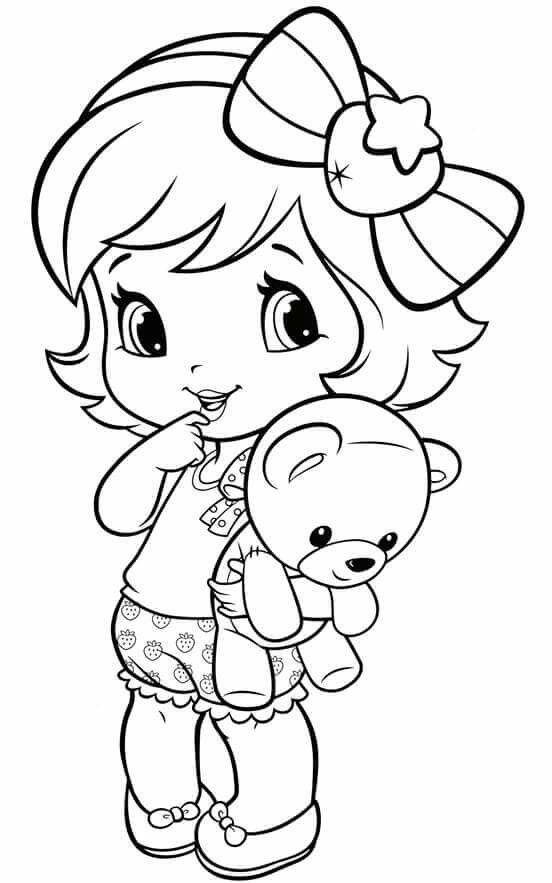 Tranh tô màu bé gái ôm gấu