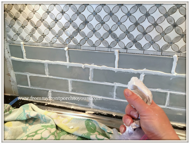 farmhouse kitchen-Grouting Tip- DIY-from my front porch to yours