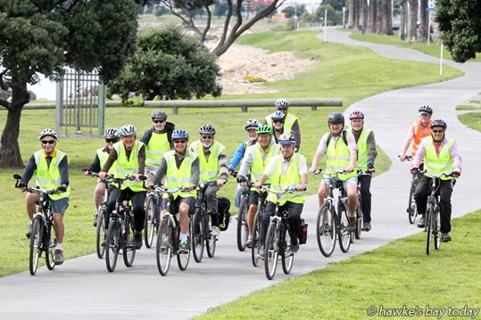 A group of retired men who have formed a cycling club called Recycled Rebels, pictured on the pathway along Hardinge Rd, Napier. Every Wednesday they go for a cycle ride and numbers have grown over the past few years. photograph